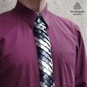 Sárkánypikkely nyakkendő - fekete ezüst extravagáns férfiaknak, Férfiaknak, Vőlegényes, Mindenmás, A nyakkendő fő alapanyagát a speciálisan felületkezelt (fekete színű) és színezetlen alumínium pikk..., Meska