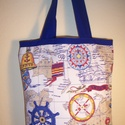 Színes tengerészmintás táska királykék füllel , Táska, Baba-mama-gyerek, Szatyor, Válltáska, oldaltáska, Varrás, Színes tengerészmintás vastagabb vászonanyagból készítettem ezt a táskát.  Oldalán és alján dupla v..., Meska