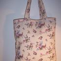 Drapp rózsa mintás táska , Táska, Baba-mama-gyerek, Szatyor, Válltáska, oldaltáska, Varrás, Drapp rózsa mintás 100 % vékony vászon anyagból készült ez a táska!  Oldalán és alján dupla varráss..., Meska