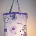 Bicikli, levendula mintás táska , Táska, Baba-mama-gyerek, Szatyor, Válltáska, oldaltáska, Varrás, Színes bicikli mintás vastagabb vászonanyagból készítettem ezt a táskát.  Oldalán és alján dupla va..., Meska