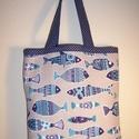Hal mintás táska, Táska, Baba-mama-gyerek, Szatyor, Válltáska, oldaltáska, Varrás, Nagyon szép halakat ábrázoló anyagból készítettem ezt a táskát.  Oldalán és alján dupla varrással. ..., Meska