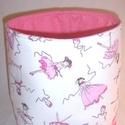 Textiltároló balerina, Baba-mama-gyerek, Otthon, lakberendezés, Gyerekszoba, Tárolóeszköz - gyerekszobába, Varrás, Balerina mintás textil tárolót pink pöttyös anyaggal kombináltam.  Bélése pink pöttyös  Oldala mere..., Meska