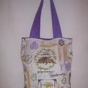 Levendula mintás kis táska , Táska, Baba-mama-gyerek, Szatyor, Válltáska, oldaltáska, Varrás, Színes levendula mintás vastagabb vászonanyagból készítettem ezt a táskát.  Oldalán és alján dupla ..., Meska