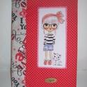 Napló textil borítóval piros, Naptár, képeslap, album, Baba-mama-gyerek, Jegyzetfüzet, napló, Varrás, Egy igazán lányos füzetborítót készítettem piros pöttyös és mintás pamutvászonból.  Elejére egy kis..., Meska