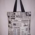 Újság mintás táska , Táska, Szatyor, Válltáska, oldaltáska, Férfi táska, Fehér fekete újság mintás 100 % vékony vászon anyagból készült ez a táska!   Oldalán és ..., Meska