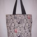Drapp cica mintás táska , Táska, Válltáska, oldaltáska, Szatyor, Férfi táska, Drapp cica mintás vastagabb vászonanyagból készítettem ezt a táskát.  Oldalán és alján dup..., Meska