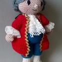 Mozart horgolt baba, Játék, Dekoráció, Játékfigura, Plüssállat, rongyjáték, Horgolás, A zene világnapja okt. 1, erre az alkalomra készült Mozart! Zenészeknek, komolyzenerajongóknak kedv..., Meska