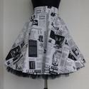 Újság Rockabilly szoknya , Ruha, divat, cipő, Női ruha, Szoknya, Rockabilly,  Pin Up Klasszikus stílusú  vidám szoknya , Újság mintás pamutvászonból készült,  fekete..., Meska