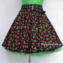 Cseresznyés szoknya , alsószoknyával. , Ruha, divat, cipő, Női ruha, Szoknya, Varrás,  Klasszikus Rockabilly stílusú Pin Up cseresznyés szoknya. (alsószoknyával , választható színben)  ..., Meska