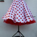 Rockabilly Pin Up stílusú pöttyös szoknya , Ruha, divat, cipő, Esküvő, Női ruha, Szoknya, Varrás, Klasszikus  stílusú  vidám szoknya. Pöttyös Szaténból készült,  szatén széles derékpánttal , fodros..., Meska