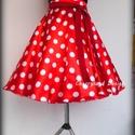 Minnie Rockabilly Pin Up stílusú pöttyös szoknya , Ruha, divat, cipő, Esküvő, Női ruha, Szoknya, Varrás, Klasszikus  stílusú  vidám szoknya. Pöttyös Szaténból készült,  szatén széles derékpánttal , fodros..., Meska