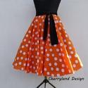 Cherryland design  Narancssárga   alapon fehér pöttyös  pamutvászon  Rockabilly  stílusú szoknya./Alsószoknyával., Ruha, divat, cipő, Női ruha, Szoknya, Narancssárga  alapon fehér pöttyös pamutvászon   Rockabilly  stílusú szoknya./Alsószoknyáva..., Meska
