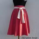 Cherryland Design Piros alapon   -Fehér szíves rockabilly szoknya /Menyecske Szoknya., Piros alapon -Fehér   Szíves  Rockabilly -Menyec...