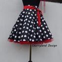 Cherryland Design Fekete alapon fehér pöttyös  rockabilly  stílusú szoknya./Alsószoknyával, Fekete alapon fehér pöttyös Rockabilly  stílus...