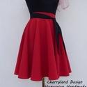 Cherryland Design Piros Nehézselyem  Rockabilly stílusú szoknya , Cherryland Design Piros Rockabilly stílusú szokn...