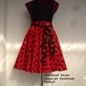 Cherryland Design Katica Piros alapon fekete Pöttyös Rockabilly szoknya., Cherryland Design Katica Piros alapon fekete pött...