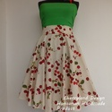 Cherryland Design Törtfehér Cseresznyés szoknya., Klasszikus Rockabilly stílusú Pin Up cseresznyé...