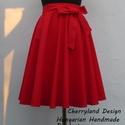 Cherryland Design Piros pamutvászon   Rockabilly stílusú szoknya , Cherryland Design Piros Rockabilly stílusú szokn...
