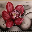 Virág köveken, Képzőművészet, Festmény, Olajfestmény, Festészet, Egy gyönyörű piros-rózsaszín virág, mely kiemelkedik a szinte semleges háttérből. 3D hatással készü..., Meska