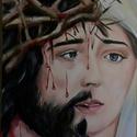Jézus és Mária, Képzőművészet, Festmény, Olajfestmény, Festészet, A szenvedő Jézus és Mária egy képen. Magam is vallásos vagyok, szeretettel és alázattal alkotok ebb..., Meska