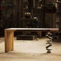 Főtengely Asztalka, Bútor, Férfiaknak, Asztal, Legénylakás, Bemutatom a Főtengely fantázianevű asztalkát! Dió palló, főtengely, fogaskerék berakás. Nem kell töb..., Meska