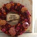 Őszi burgundy-rozsdabarna ajtódísz / kopogtató, Dekoráció, Otthon, lakberendezés, Ajtódísz, kopogtató, Virágkötés, Természetes szárított termésekből / növényekből készített burgundy- rozsdabarna árnyalatú kopogtató..., Meska
