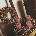 Csipkés romantika- ajtódísz / kopogtató, Otthon, lakberendezés, Ajtódísz, kopogtató, Rusztikus stílusban készített romantikus rózsaszín árnyalatú kopogtató.  A szalmaalapot zsá..., Meska