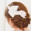 Menyasszonyi Arcfátyol - Madárral , Esküvő, Esküvői ékszer, Hajdísz, ruhadísz, Ékszerkészítés, Elegáns menyasszonyi arcfátyol kézzel tervezett és készített textil-madár díszítéssel és apró halvá..., Meska