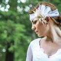 Gatsby  - bohém homlokpánt , Esküvő, Hajdísz, ruhadísz, Varrás, Mindenmás, Bohém mégis elegáns fej/homlokdísz esküvőre. Tüllből, gyöngyből, és kétféle textilből készült.  Fel..., Meska