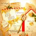 Amerikai stílusú esküvői meghívó- Narancsos-pirosas színvilág, Esküvő, Meghívó, ültetőkártya, köszönőajándék, Fotó, grafika, rajz, illusztráció, Papírművészet, Narancsos- pirosas színvilágú, vidám amerikai stílusú esküvői meghívó kerekített szélekkel, vékony,..., Meska