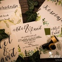 Amerikai stílusú esküvői meghívó- Zöld színvilágú, Esküvő, Meghívó, ültetőkártya, köszönőajándék, Fotó, grafika, rajz, illusztráció, Papírművészet, Amerikai stílusú esküvői meghívó- Zöld színvilágú, stílusban hozzá passzoló általam tervezett, hajt..., Meska