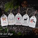 Karácsonyi kísérőkártya csomag verz.1., Dekoráció, Ünnepi dekoráció, Karácsonyi, adventi apróságok, Ajándékkísérő, képeslap, Fotó, grafika, rajz, illusztráció, Papírművészet, Karácsonyi kísérőkártya csomag:  A csomagtartalma: - 5 db 10,5x6,5 cm 200 g-os művészpapírból, egye..., Meska