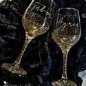 Esküvői pohár pár (2db), Esküvő, Nászajándék, Üvegművészet, Festett tárgyak, 2 db festett esküvői boros pohár. Anyaga: üveg Tökéletes ajándék házaspárok részére.   , Meska