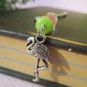 Flamingós könyvjelző üde peridot és turmalin ásványgyöngyökkel, Naptár, képeslap, album, Könyvjelző, Aranyos könyvjelző fazettált peridot és fazettált görögdinnye turmalin ásványgyöngyökkel,..., Meska