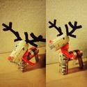 Rudolf rénszarvas parafadugóból, Otthon, lakberendezés, Dekoráció, Ünnepi dekoráció, Karácsonyi, adventi apróságok, Parafadugó újrafelhasználásával készült rénszarvas dekoráció/függődísz. A szarvas mére..., Meska