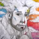 Kép - A Hegy Arca, Dekoráció, Képzőművészet, Kép, Illusztráció, Fotó, grafika, rajz, illusztráció, Saját kezűleg készített szürreális témájú színesceruza- és tusrajz. Mérete: Kb. A3. , Meska