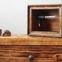 Éjjeli lámpa, Hangulat lámpa, Lámpa, Asztali lámpa, Otthon, lakberendezés, Lámpa, Asztali lámpa, Hangulatlámpa, Famegmunkálás, Hangulatos fényt árasztó kis asztali lámpa vintage Edison égővel barna textil kábellel. Személyes á..., Meska