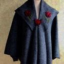 Sötétszürke tulipános poncsó, Ruha, divat, cipő, Női ruha, Poncsó, Kabát, Nemezelés, Varrás, Meleg lágy gyapjú szövetből készült ujjas poncsó széles kihajtott gallérral és reverrel.  Bő lágy e..., Meska