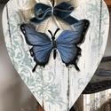 Butterflay- dupla country szív, Dekoráció, Otthon, lakberendezés, Konyhafelszerelés,  Fából készült dupla szív forma, pillangós festett mintával. Cottage ihlet?sű, r?gi tanya házak mese..., Meska