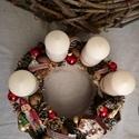 Diótörő-adventi koszorú, Dekoráció, Karácsonyi, adventi apróságok, Ünnepi dekoráció, Karácsonyi dekoráció, Egyszerű nosztalgia, Meska