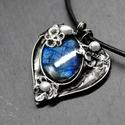 Kék labradorit szív., Ékszer, óra, Medál, Ékszerkészítés, Tiffany technikával készítettem ezt a medált. Felhasznált anyagok: Ásvány (kék labradorit),gyöngy, ..., Meska