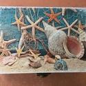 Tengerparti dobozka, Otthon, lakberendezés, Tárolóeszköz, Doboz, Ezt a kis tengerparti hangulatot idéző 15x10,5x5,5 fa ládikát decoupage technika illetve türkiz és f..., Meska
