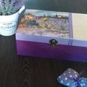 Provence-i levendulás doboz, Otthon, lakberendezés, Tárolóeszköz, Doboz, Decoupage, transzfer és szalvétatechnika, Elegáns provence-i fa dobozka kellemes lila színekben pompázik. A doboz 20x15x8 cm és 6 rekesszel r..., Meska