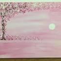 Cseresznyefa virágzás, Képzőművészet, Festmény, Akril, 30 x 40 cm-es, fa keretre feszített vászonkép, akrilfestéssel. A szélét is lefestettem, így k..., Meska