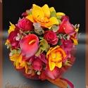 Őszi örök-csokor , Esküvő, Dekoráció, Esküvői csokor, Csokor, Őszi örök-csokor  Prémium minőségű virágokból készült, 27 szál virágból vegyesen: Orchidea, Rózsa, K..., Meska