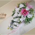 MAGNÓLIÁS-ORCHIDEÁS ÉKSZER ÖRÖK-CSOKOR, Esküvő, Dekoráció, Esküvői csokor, Csokor, Ha valami másra vágysz... MAGNÓLIÁS-ORCHIDEÁS ÉKSZER ÖRÖK-CSOKOR Csepp formájú, 23 virágos, strasszo..., Meska