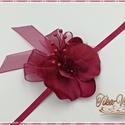Bordó Orchideás csuklódísz, Esküvő, Esküvői csokor, Esküvői dekoráció, Hajdísz, ruhadísz, Bordó Orchideás csuklódísz, Meska