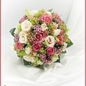 Antik-rózsaszínű-rózsákból álló örök-csokor 170754_1., Anyák napja, Dekoráció, Esküvő, Esküvői csokor, Antik-rózsaszínű-rózsákból álló örök-csokor 170754_1. 26 szál rózsából, prémium minőségű selyemvirág..., Meska
