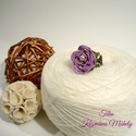 Lila rózsa - csipke gyűrű, Ékszer, óra, Gyűrű, Csipkekészítés, Ékszerkészítés, Orgona lila pamutfonalból frivolitás technikával saját minta alapján készítettem. Közepén fehér tek..., Meska