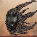 Vászon kép 3D gyöngyhajú 20x20cm falidísz, Otthon, lakberendezés, Dekoráció, Falikép, Kép, Festészet, Szobrászat, Egy 20x20cm méretű vászonra, vegyes technikával készített igazán egyedi gyöngyös fali dísz. Az arc ..., Meska